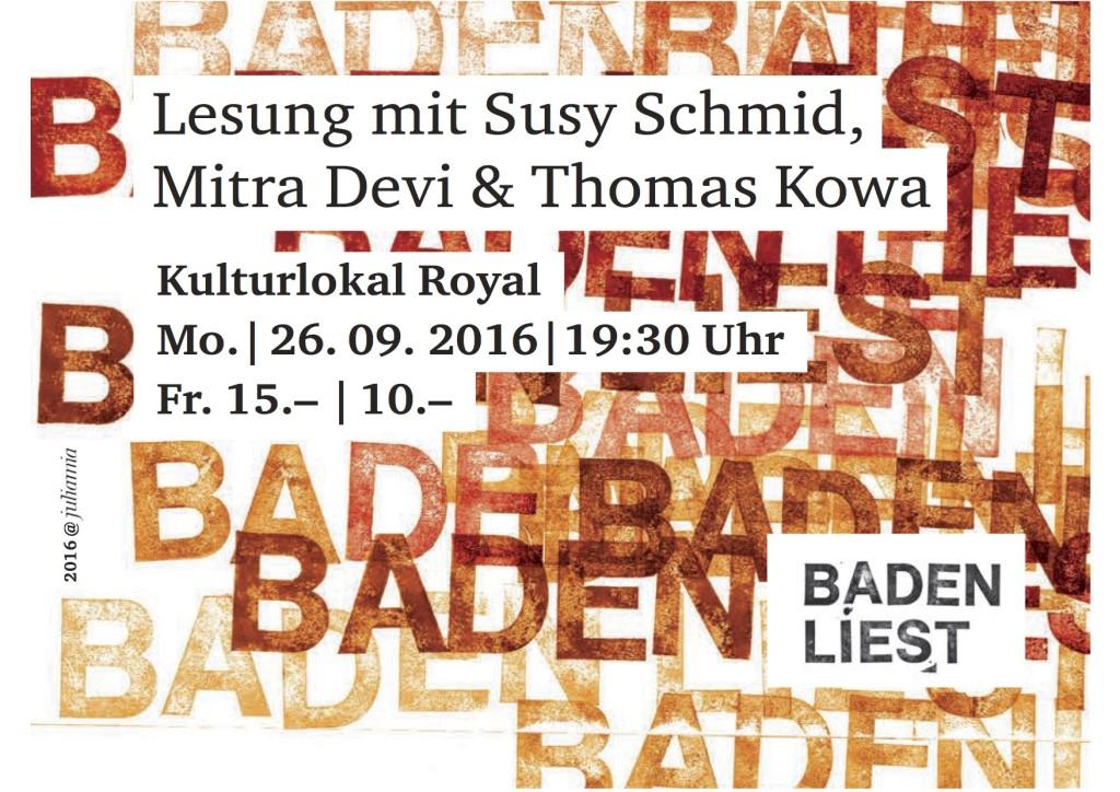 Lesung mit Susy Schmid, Mitra Devi & Thomas Kowa