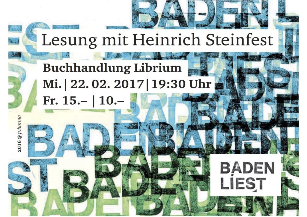 Lesung mit Heinrich Steinfest